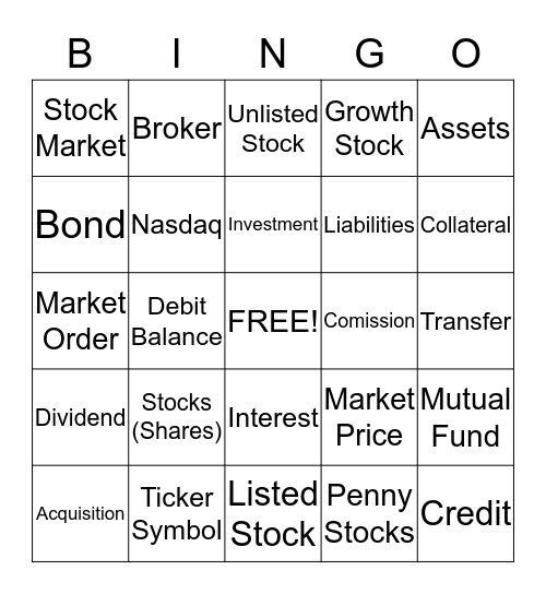 Investment Bingo Card