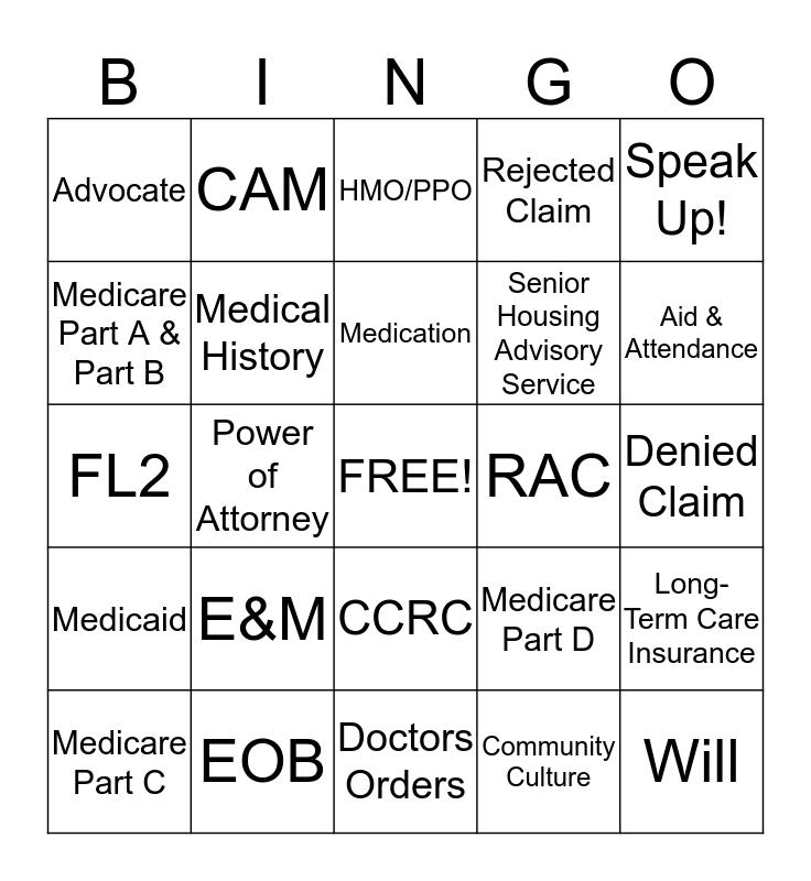 Elder Resource Advocates Bingo Card