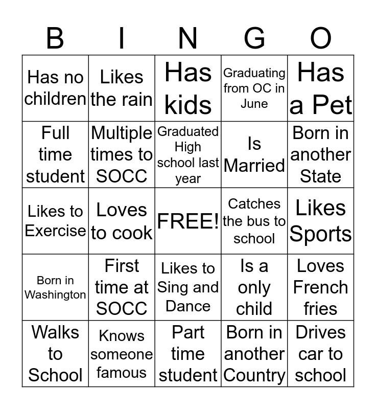 SOCC Party Bus Bingo Card