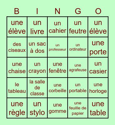 Dan la Salle de Classe (français) Bingo Card