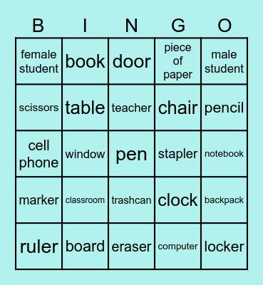 Dans la Salle de Classe (anglais) Bingo Card