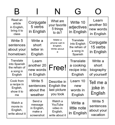 24 activities to practice English Bingo Card