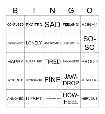 ASL - FEELINGS Bingo Card
