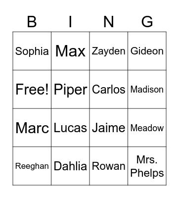 Mrs. Phelps' Class Bingo Card