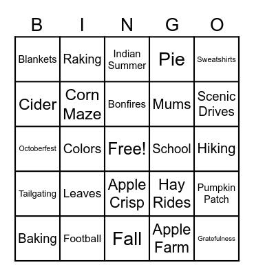 Fall Fun Bingo Card