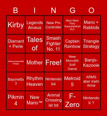 Nintendo Direct Nintendo Schmirect Bingo Card