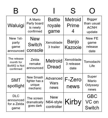 9/23 Direct Bingo Card