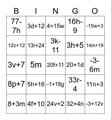 Combine Like Terms Bingo Card