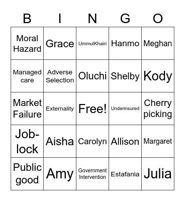 Fall 2021 Economic Concepts Bingo Card