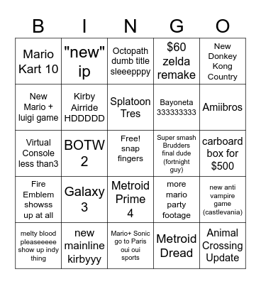 disappointment machine Bingo Card