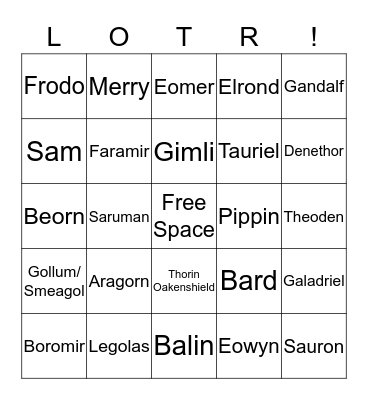LORD OF THE RINGS / HOBBIT BINGO Card