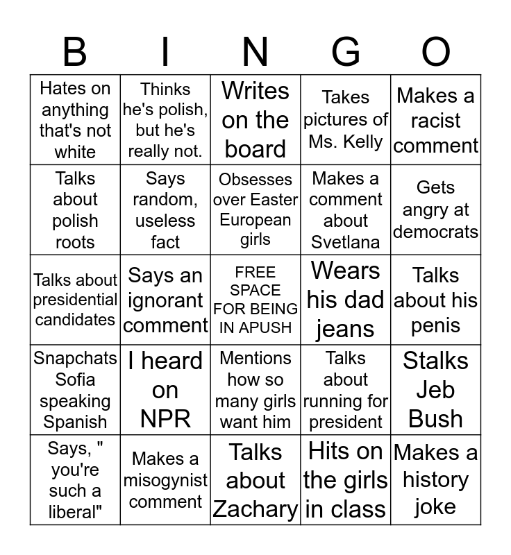 Zawadzki Bingo  Bingo Card