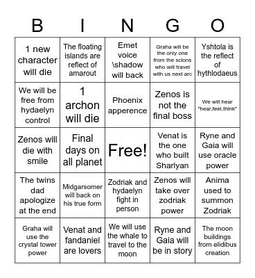 ENDWALKER MSQ Bingo Card