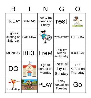 Days of the week Bingo Card