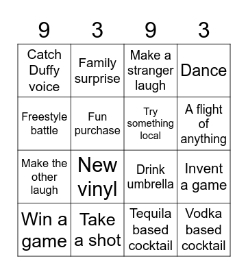 The 9 & 3 Bingo Card