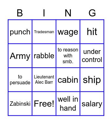 A Foul Play Bingo Card