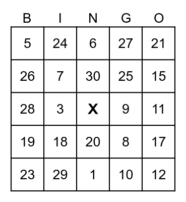 Les nombres 1-31 Bingo Card
