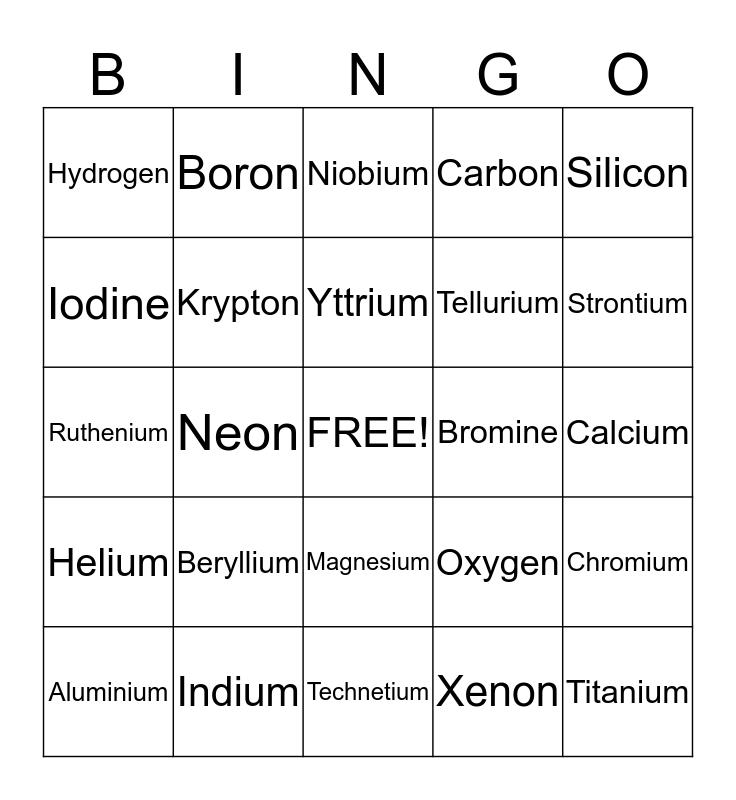 Element Bingo Card