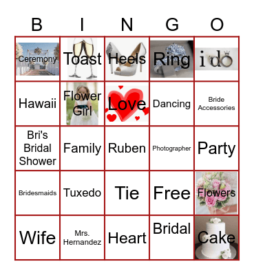 Bri's Bridal Bingo Card