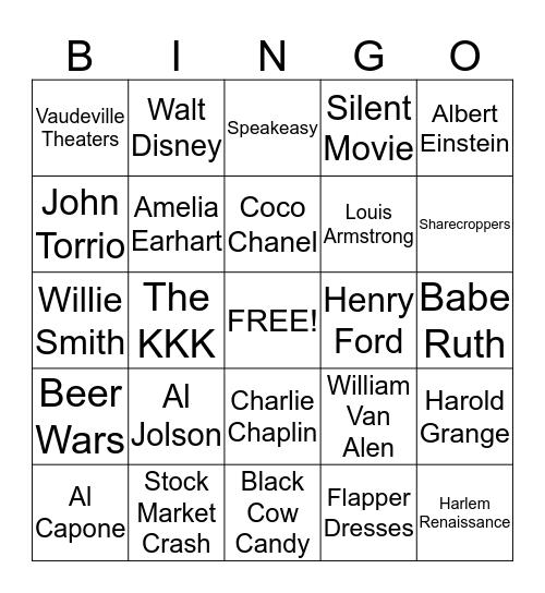 1920's Bingo  Bingo Card