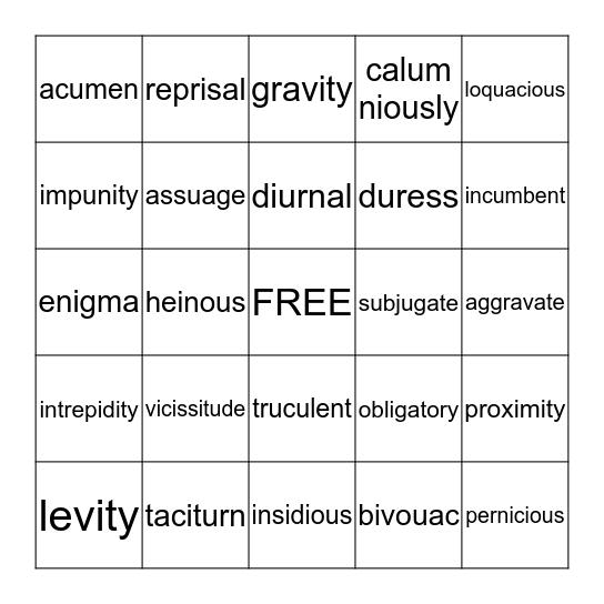 English IV--Vocab Test 5 Bingo Card