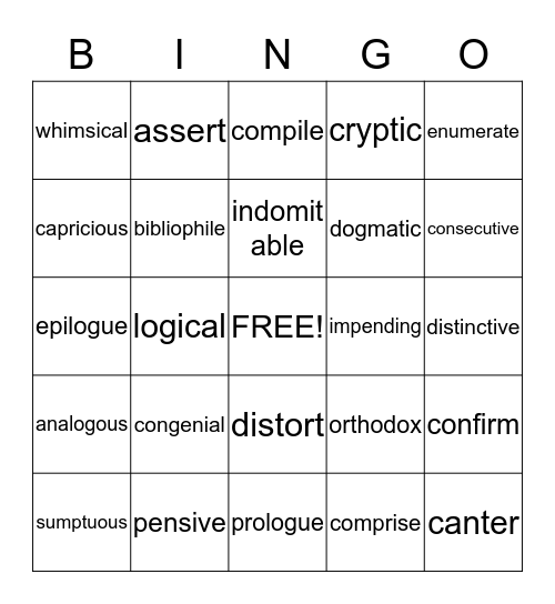 English II--Vocab Test 4 Bingo Card