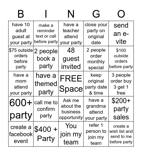 Hostess Challenge Bingo Card