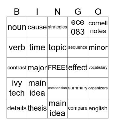 English 083 Bingo  Bingo Card
