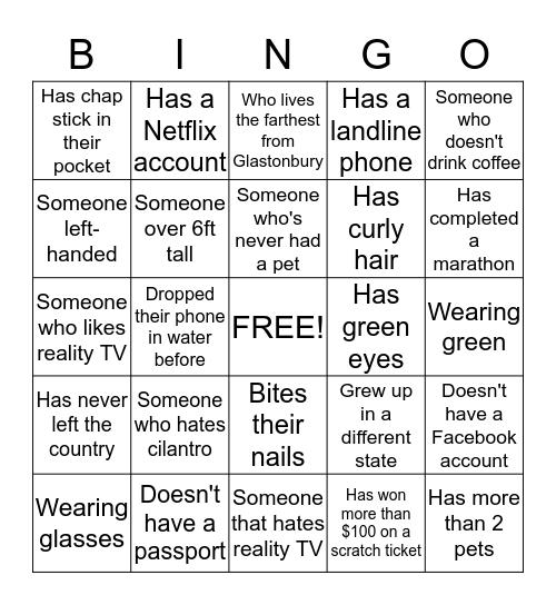 Walgreens Graduate Orientation Bingo Card