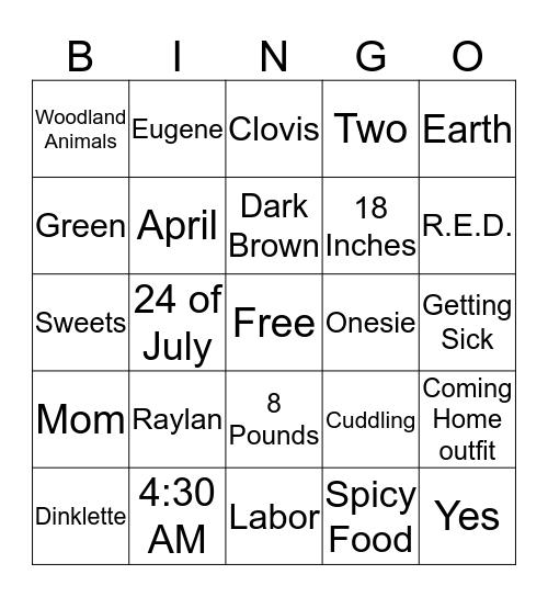 Jessica's Baby Shower Bingo Card