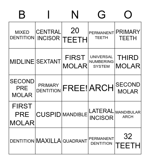 Intro to the dentition-dental terms Bingo Card