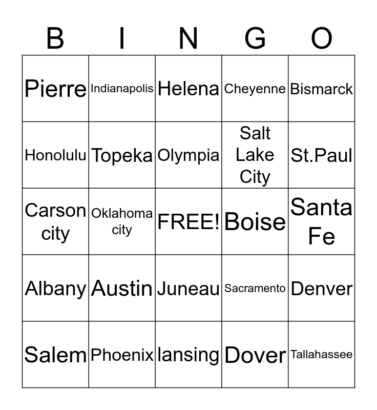 states and capitals Bingo Card