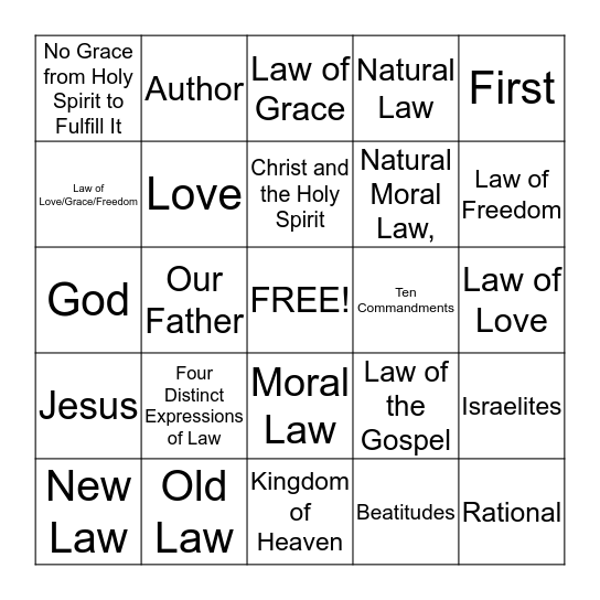 Morality Chapter 6 Section 2 Bingo Card