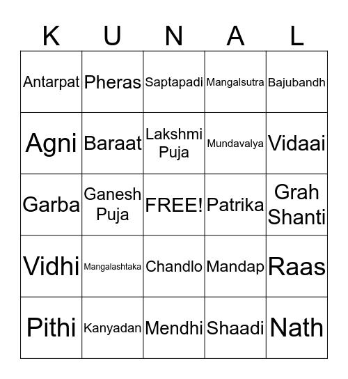 Introducing Rachana to Gujarati & Marathi Wedding Words  Bingo Card