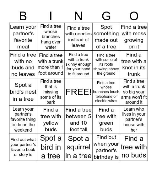 Tree Bingo Card