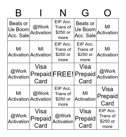 May Fast Start 05/01/15 - 05/15/15 Bingo Card