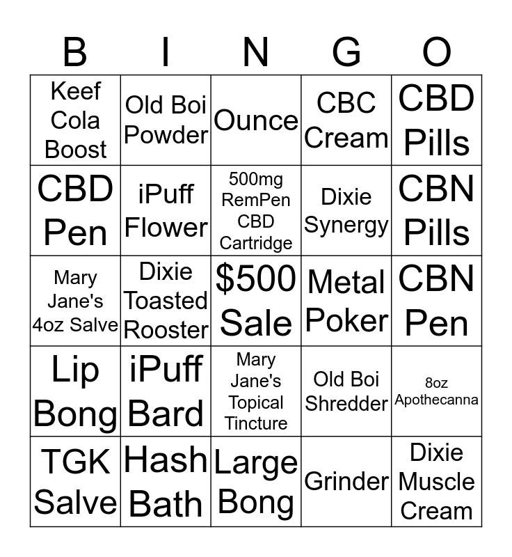 Budtender Bingo Card