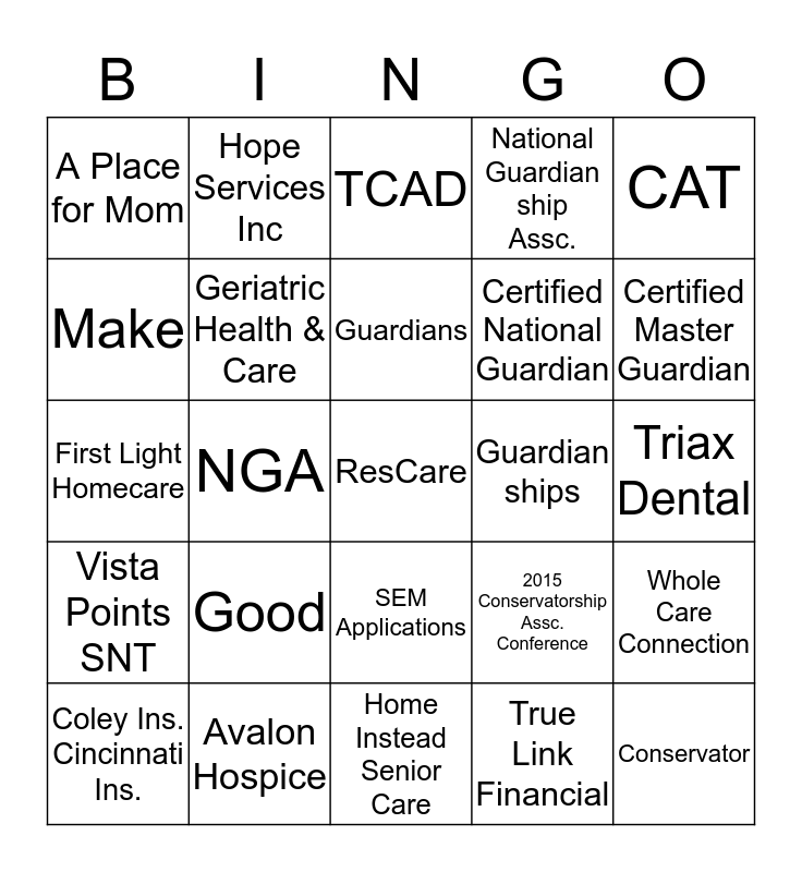 Name & cell: ________________ Bingo Card