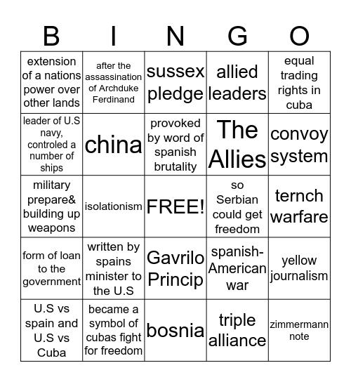 American history Unit:2 Bingo Card
