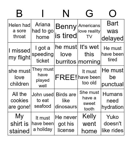 Assumptions Bingo Card