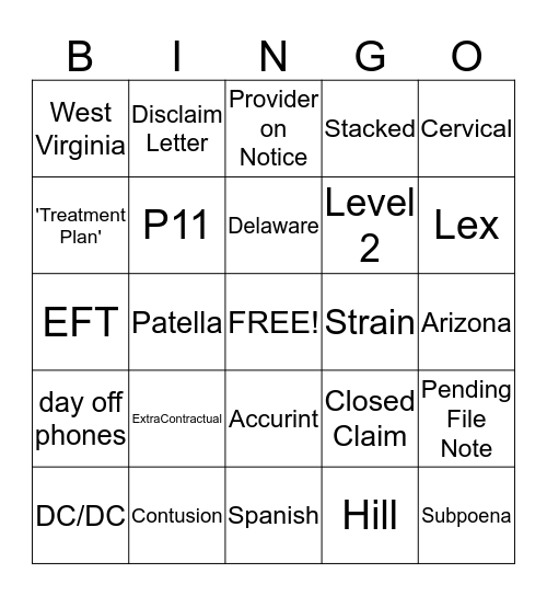 eMed Bingo Card