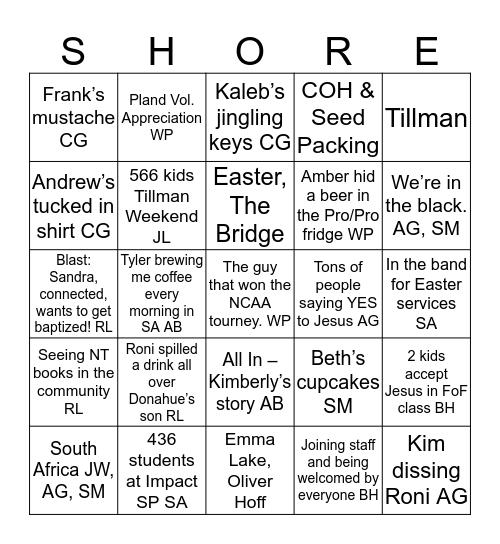 Willow North Shore Bingo Card