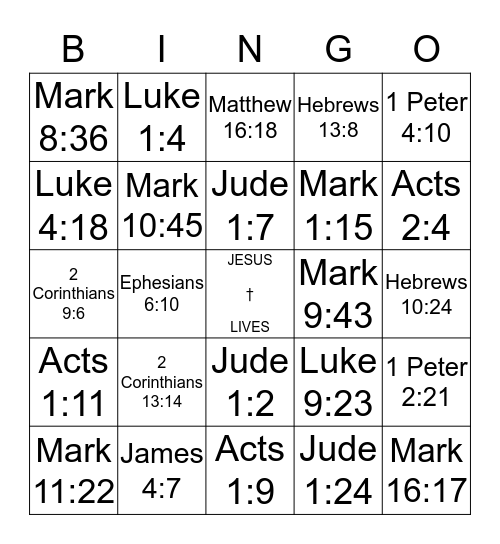 Faith & Fun Women's Group Bible Bingo Card