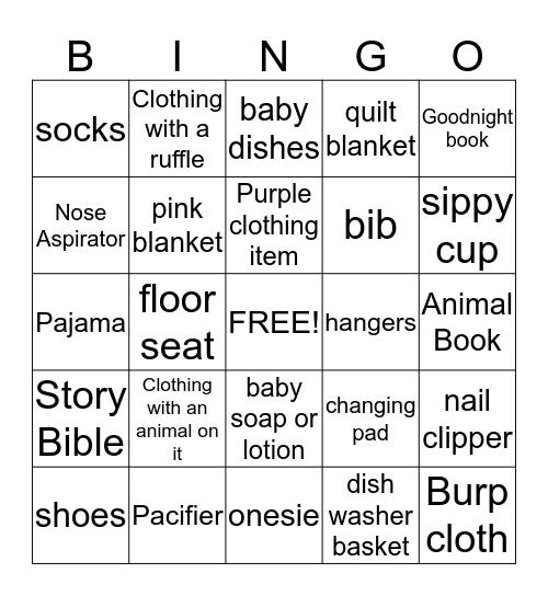 Baby Girl Bingo Card