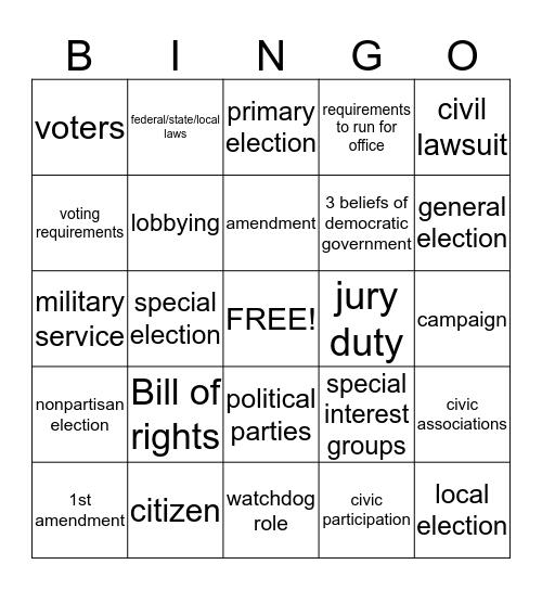 Unit 9: Citizen Rights and Responsibilities  Bingo Card
