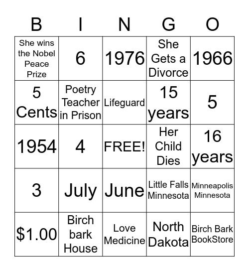 Louise Erdrich Bingo Card