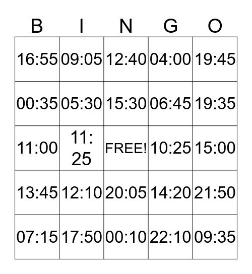 De digitale klok Bingo Card