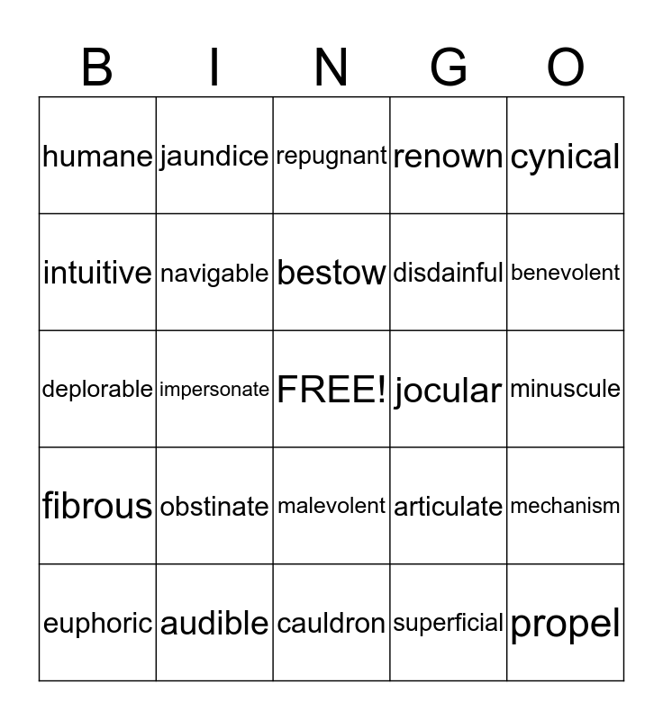 vocabulary bingo lists 1-5 Bingo Card