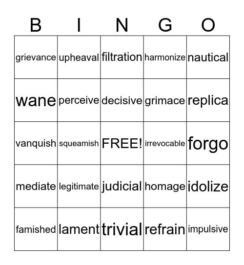 vocabulary bingo lists 6-10 Bingo Card