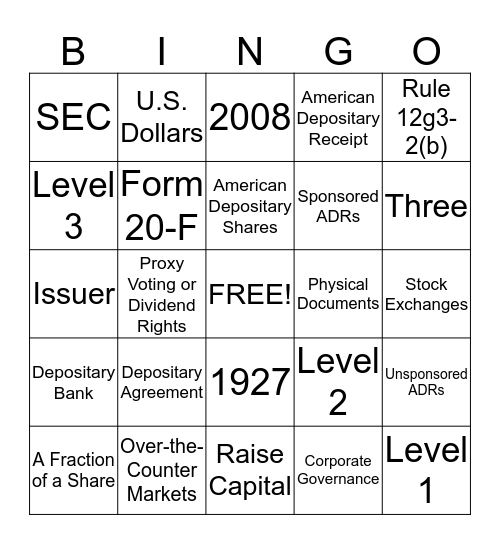 ADR Bingo Card